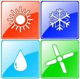 Button set with drop, sun, snowflake and fan Royalty Free Stock Photos