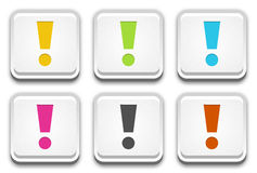 The button set with exclamation mark Stock Images