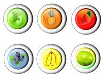 Button set with fruit icon Royalty Free Stock Photos