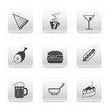 Button set icons food and drink Royalty Free Stock Image
