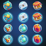 Button set of icons for web video games Stock Photos