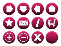 Button Set Magenta. 11 different buttons + 1 template to complete the set individually Royalty Free Stock Photo