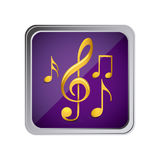 button with set of musical notes background purple Stock Photos