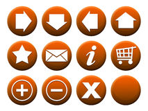 Button Set Orange. 11 different buttons + 1 template to complete the set individually Stock Images