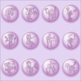 Button set with signs of zodiac. On pinc background Royalty Free Stock Images