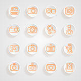 Button shadows camera icons set Royalty Free Stock Photo