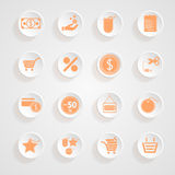 Button shadows Shopping Icon Set Royalty Free Stock Photography