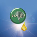 Button showing thumbs down sign with biofuel drop Stock Image