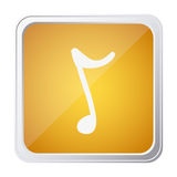 Button of sign eighth note with background yellow and hand drawn Stock Image