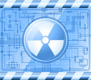 Button with the sign of radiation Stock Photography