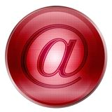 The button at-sign red Royalty Free Stock Images