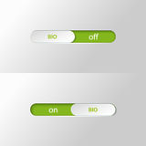Button slider bio on off Royalty Free Stock Images