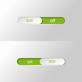 Button slider eco on off. Design element  illustration Royalty Free Stock Photos