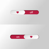 Button slider love on off Stock Photos