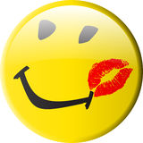 Button_smiley_kiss Fotos de Stock