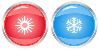 Button with snowflake and sun Stock Image
