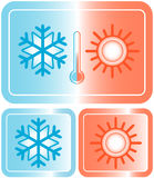 Button with snowflake, sun and thermometer Royalty Free Stock Photos