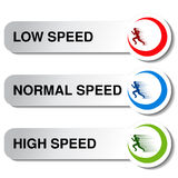 Button of speed - low, normal, high Royalty Free Stock Photos