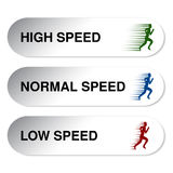 Button of speed - low, normal, high Stock Photography