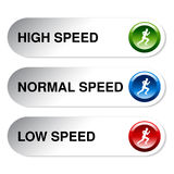 Button of speed - low, normal, high Stock Photos