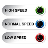 Button of speed - low, normal, high Stock Images