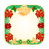 Button square Christmas  with bells vector Royalty Free Stock Image
