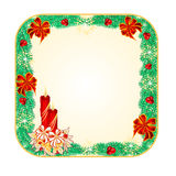 Button square Christmas with a candlestick vector. Button square Christmas Spruce with a candlestick vector illustration royalty free illustration