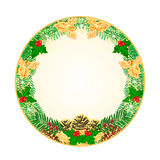 Button square Christmas with pinecones  holly and yew vector Stock Image