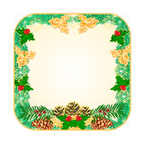 Button square Christmas with pinecones  holly and yew vector Royalty Free Stock Image