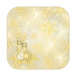 Button square New Year fireworks and candles with watches  vector. Button square New Year fireworks and candles and lucky symbols  gold background  vector Royalty Free Stock Photos