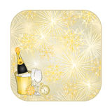 Button square New Year fireworks and midnight toast gold background vector. Button square New Year fireworks and midnight toast gold background  vector Royalty Free Stock Images