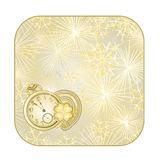 Button  square New Year fireworks  with watches and lucky symbols vector Royalty Free Stock Image