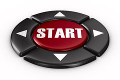 Button start on white background. 3D image Royalty Free Stock Images