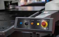 Button station of cutting machine. Button panel of CNC laser cutting machine Royalty Free Stock Photos