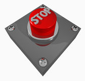 Button_STOP. 3D render illustration of a red STOP button Royalty Free Stock Images
