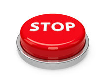 Button Stop. Red stop button  on white background, three-dimensional rendering, 3D illustration Royalty Free Stock Image