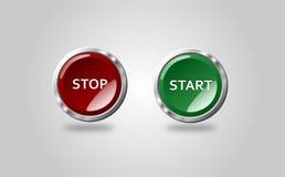 Button Stop Start Stock Photo