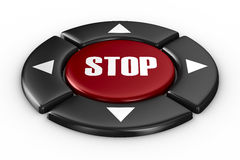 Button stop on white background. 3D image Royalty Free Stock Photography