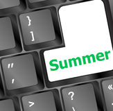 Button summer on computer keyboard Royalty Free Stock Images