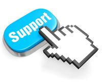 Button Support and hand cursor. Blue oval button Support and hand cursor on white Royalty Free Stock Images