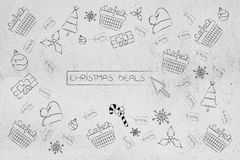 Button surrounded by full shopping baskets and price tags next t. Christmas sales concept: button surrounded by full shopping baskets and price tags next to Royalty Free Stock Image