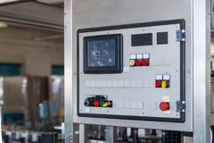 Button switch of control panel industrial keypad with screen for. Adjusting parameters of machine at factory stock image