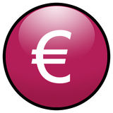 button symbole euro różowego znak Fotografia Royalty Free