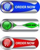 button symbolen metallisk beställer nu seten Fotografering för Bildbyråer