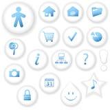 button symboler vita Arkivbilder