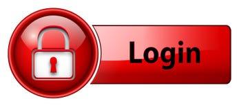 button symbolsinloggningen Fotografering för Bildbyråer