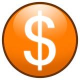 button tecknet för dollarsymbolsorangen stock illustrationer