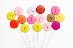 Button and thread. On white background Royalty Free Stock Photos