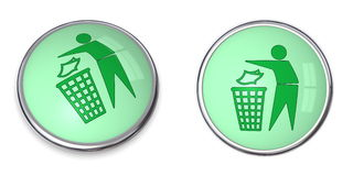 Button Tidy Man with Wastebin Stock Images