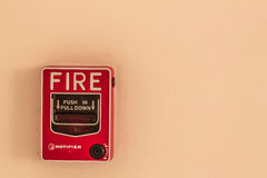 Button to alert the fire. Royalty Free Stock Photo